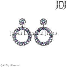 925 Sterling Silver Amethyst & Blue Topaz Baguettes Setting Drop Dangle Earrings #earrings #gemstone #baguettes #diamondjewelry #pavediamond #beautiful #fashion #handmade #dropdangle #flower