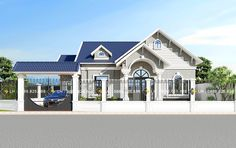 Modern Bungalow House Plans, Bungalow House Design, Modern House Design, 1 Story House, Arch Doorway, Thai House, Three Bedroom House, Home Fashion, Architecture Design