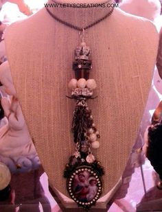 """Catholic """"Mother Mary, My Queen"""" Religious Cameo Necklace www.letyscreations.com"""