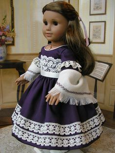 American Girl  aubergine sateen mid1800s gown with by dolltimes