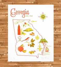 Georgia Letterpress Print | This mid-centry style print features the maker's original rend... | Posters