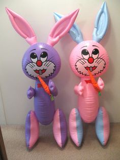 "2 Vintage Inflatable Squeak Easter Bunny Decorations 45"" Plastic Blow Up Rabbit"
