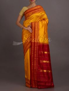 Ditya Rising Sun Stripe Border Pure #NarayanpetSilkSaree