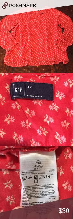 "Gap Floral Print Blouse XXL Gap Floral Print Blouse. Blouse is 100% Rayon and measures 25"" from shoulder to hem. Bust is 23"" laying flat. Blouse is flowy and features a V-Neck with cute ties. Comes from a Smoke Free/Pet Friendly Home. Offers always welcome. GAP Tops Blouses"