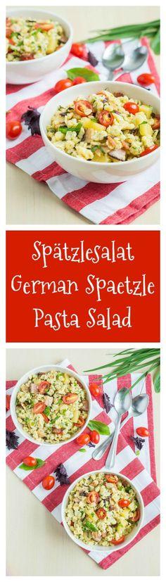 Spätzlesalat (German Spaetzle Pasta Salad) for #SundaySupper  #spätzle #spaetzle #pasta #summer #bacon #herbs #basil #parsley #cheese #pastasalad