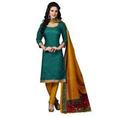 f11d0dd34d Buy Green printed jute silk unstitched salwar with dupatta Online. Saree  mall
