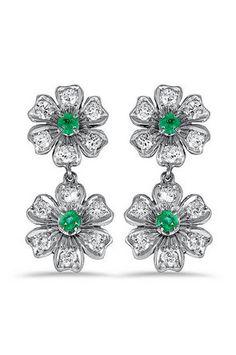 Angara Princess Enhanced Blue Diamond Three Stone Journey Earrings(3.5mm) hH5ZJv49