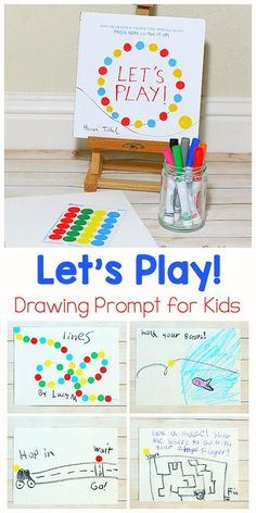 Drawing Prompt for Let's Play by Herve Tullet An easy to set up drawing prompt for kids inspired by the children's book Let's Play! by Herve Tullet! Makes a fun art center for preschool and kindergarten! Kindergarten Art, Preschool Art, Art Videos For Kids, Art For Kids, Deco Miami, Art Disney, Kids Inspire, Drawing Prompt, Easy Art Projects