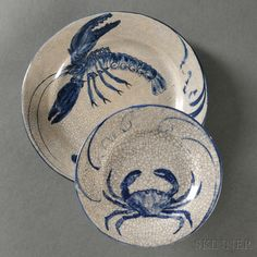 Dedham Pottery Lobster and Crab Plates