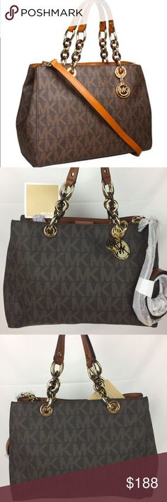 """Michael Kors Cynthia Medium Satchel Signature Bag Michael Kors Cynthia Medium Satchel Signature Handbag  100% Authentic - New, without tag but includes Care Card  Michael Kors Constructed with the finest vinyl and leather and meticulous craftsmanship this ultra-fashionable bag helps keep you organized while you look your best This bag is lined with the signature monogram lining and two zip pockets and two open pockets. * 19"""" shoulder drop * 9"""" high, 12"""" wide Michael Kors Bags Satchels"""