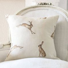 Lee Caroline - A World of Inspiration: Cottage Fresh Interiors & Peony and Sage rabbit pillow Bunny Art, Cozy Cottage, Cottage Style, Textiles, Easter Table, Woodland Creatures, Fabulous Fabrics, Soft Furnishings, Peonies
