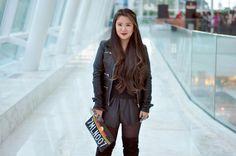 Eu Não tenho Roupa - Primeiro Blog de Moda Curitiba: OOTD ALL BLACK - Blusa Striped + Jaqueta de Couro + Shorts de Couro + Cuissarde