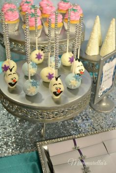 Adorable cake pops at a Frozen Birthday Party!  See more party ideas at  CatchMyParty.com!