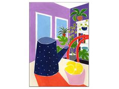 Modern Art Plants Wall Decor Purple Room