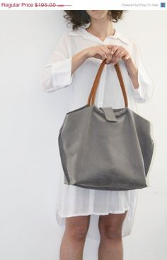 Light Grey Leather Bag Soft Leather Tote Bag by LadyBirdesign