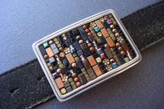 Black and Copper Mosaic Belt Buckle-CITY OF ANGELS-One of a Kind on Etsy, $175.00