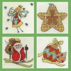 Set of 4 Christmas Mini Cross Stitch Kits (Angel, Gingerbread men, Santa, Bauble) - only £10.00 from Past Impressions