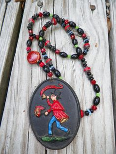 """Vintage Cast Iron Fire Fighter Pendant On Handmade Necklace With Czech - Glass - Gemstone Beads - OOAK(One Of A Kind) At This  Etsy shop>>>    SnowBearProductions      Natural History Oddities, Bizarre Ephemera, & Postcards"