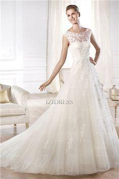 06e166a2a3 WANT! Romantic A Line Illusion Bateau Neckline Open Back Tulle Lace Wedding  Dress Country Wedding