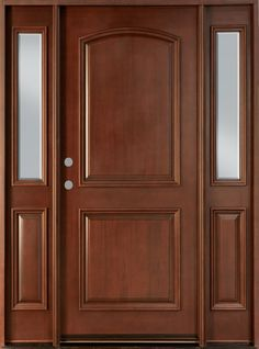 Front Door Custom Single With 2 Sidelites Solid Wood With Dark