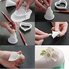 Details about Cake Decor Tool Sugar Fondant Gum Paste Icing Calla Lily Flower Cutter Mold HOT - Cake ideas 🎂 Cake Decorating Techniques, Cake Decorating Tutorials, Cookie Decorating, Decorating Ideas, Fondant Cakes, Cupcake Cakes, Fondant Figures, Fondant Tools, Cake Icing