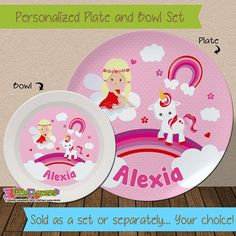 Unicorn Plate and Bowl Set - Personalized Melamine Children Plate and Cereal Bowl - Kids Dishes & Personalized Monkey Plate and Bowl Set - Personalized Melamine ...