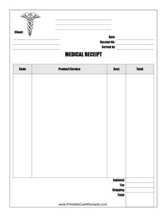 This Medical Receipt is designed to be used by a medical office or other provider of health related goods and services. Free to download and print