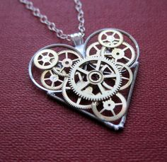 "Clockwork Heart Necklace ""Study"" Elegant Industrial Heart Steampunk Necklace Mechanical Love Sculpture by A Mechanical Mind Gear Heart on Etsy, $75.00"