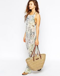 Shop Ted Baker Printed Jewel Beach Maxi Dress at ASOS. Ted Baker, Straw Bag, Designer Dresses, Fashion Online, Jewels, Popular, Beach, Prints, Shopping