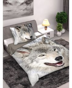 This stunning Wolf single duvet cover set features a photographic image of a Wolf on a snowy white background.  Free delivery available