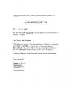 Authorization Letter      Letter Sample