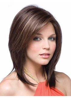 Inclined Bang Shoulder-length Synthetic Wig