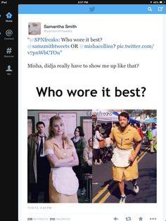 Lol Samantha's Twitter 11/3/2013 << Ignoring the fact that Misha seems to like wearing dresses.