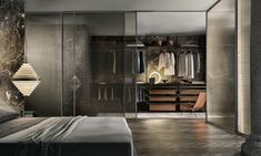 Zenit walk-in closet with brown aluminum uprights, castoro regenerated leather and coal larch melamine accessories