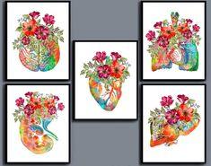 Anatomy and Red Flowers Art Prints Floral Botanical Art   Etsy Medicine Illustration, Medical Posters, Anatomical Heart, Unusual Art, Botanical Art, Red Flowers, Flower Art, Anatomy, My Arts