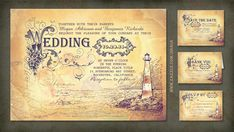 Nautical inspired wedding invitation featuring old vintage lighthouse and seascape drawing. Outstanding antique typography design, old parchment background texture and hardly visible handwritten le...