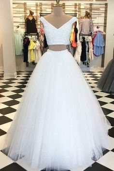 Beautiful Prom Dress, prom dress white prom dress tulle prom dress prom dress for teens long prom dress two piece prom dress Meet Dresses Two Piece Wedding Dress, Prom Dresses Two Piece, Prom Dresses For Teens, Elegant Prom Dresses, V Neck Wedding Dress, A Line Prom Dresses, Tulle Prom Dress, Formal Dresses For Women, Prom Party Dresses