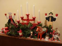 Swedish Christmas Vignette Includes red advent candle holders