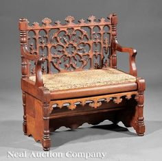 American Gothic Carved Mahogany Metamorphic Library Step