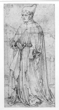 """The Doge of Venice""  1495-1500  Albrecht Dürer  This drawing, together with others, are free copies executed by Dürer after engravings from a series of fifty prints which illustrate the medieval hierarchy of the universe. They have been called 'Tarocchi' prints, although the original purpose of the series is not known."