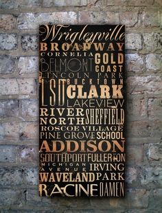 Chicago Streets Typography graphic art on canvas by geministudio, $259.00