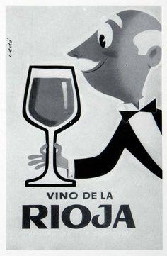 1955 Print Cedo Rioja Wine Advertising Spain Glass Wino Drink Alcohol Man Art #vintage #advertising #french