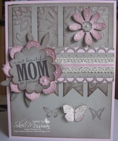 A beauty - homemade card idea I love the pink and gray together