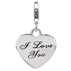 """Sterling Silver Links Charm """"I Love You"""" with Lobster Clasp, Width 5/8 Inch, Length 1 Inch ARG http://www.amazon.com/dp/B008G59OUI/ref=cm_sw_r_pi_dp_ss-owb1B2PZCW"""