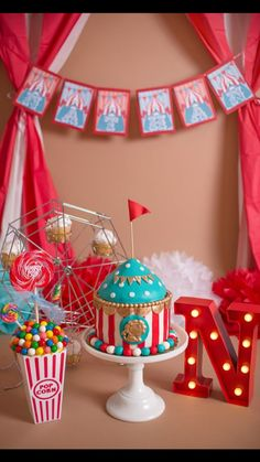 Circus Smash Cakes, Circus Theme Cakes, Carnival Cakes, Smash Cake Girl, Circus Theme Party, 1st Birthday Cake Smash, Circus 1st Birthdays, Carnival Birthday Parties, Circus Birthday