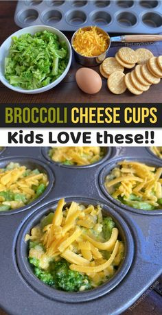 Broccoli Cheese Cups (A quick, easy & healthy snack idea for kids!Snacks - Broccoli Cheese Cups (A quick, easy & healthy snack idea for kids! Comida Diy, Broccoli And Cheese, Broccoli Cheddar, Cheddar Cheese, Broccoli Bites, Quick Healthy Meals, Quick And Easy Snacks, Healthy Snacka, Healthy Veggie Snacks