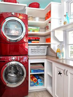 Stacked RED w/d Laundry Room - fun for tiny laundry space