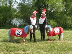 CKRH MerryLegs and Happy Feet as Thing One and Thing Two with Cats in the Hat. Horse costumes by Shirley Gentry