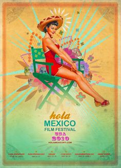 Vintage Mexican Pin-Up Girl - Illustration: Shooting Studio, Mexico People, Mexican Artwork, Mexico Art, Mexican Heritage, Mexican Style, Festival Posters, Film Festival, Calendar Girls