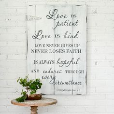 Love Is Patient Sign - Wedding Sign - Scripture Sign - Farmhouse Sign - Custom Sign - Christian Wall Decor - Anniversary Gift - Wedding Gift Reclaimed Wood Signs, Barn Wood Signs, Custom Wood Signs, Wooden Signs, Christian Wall Decor, Christian Signs, Christian Quotes, Scripture Signs, Family Scripture